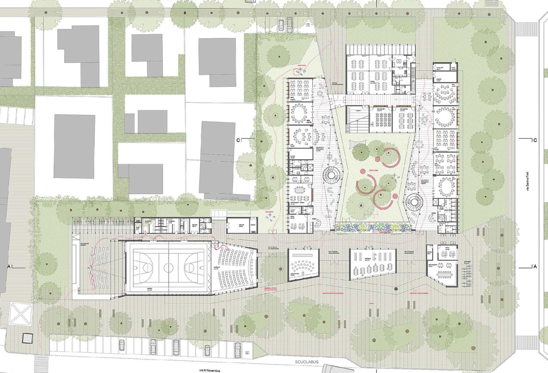 Planimetria del polo scolastico di Rovereto